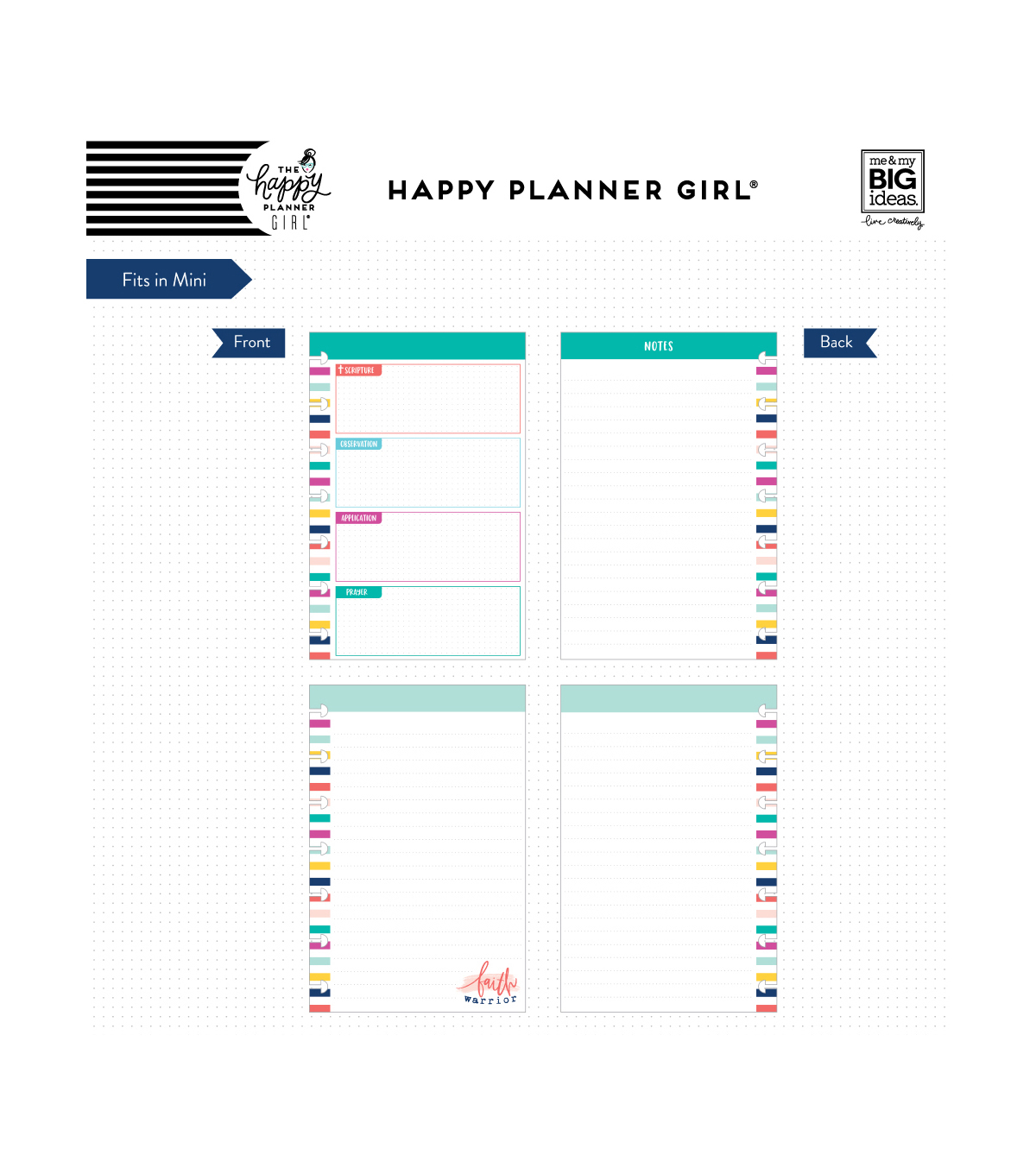The Happy Planner Girl Mini Note Paper - Faith Warrior