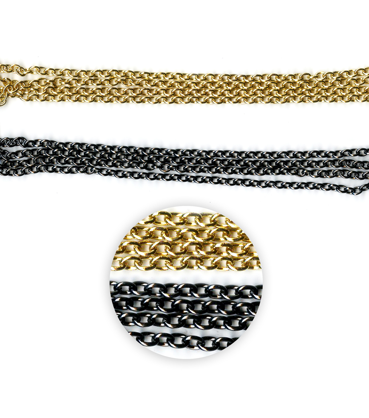 Blue Moon Beads Metal Chain, Oval Cable, Gold, Black Nickel-27\u0022