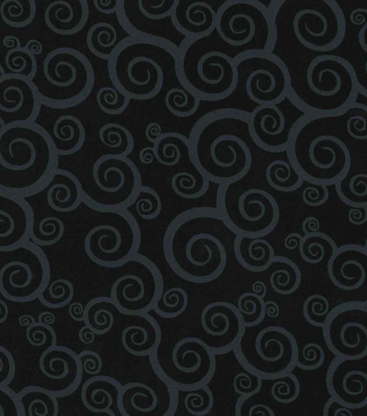 Keepsake Calico Cotton Fabric -Scroll on Black