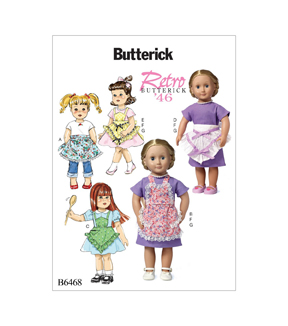 Butterick Pattern B6468 Ruffled Aprons, Dress & Necklace for 18\u0027\u0027 Doll