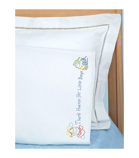 Jack Dempsey-Children\u0027s Stamped Pillowcase With White Perle Edge 1/Pkg-Little Boys