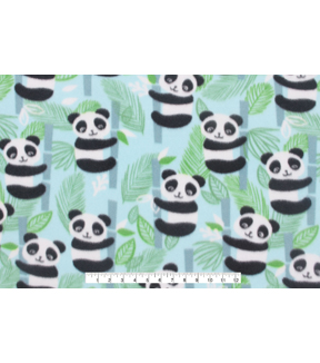 Blizzard Fleece Fabric -Aqua Panda