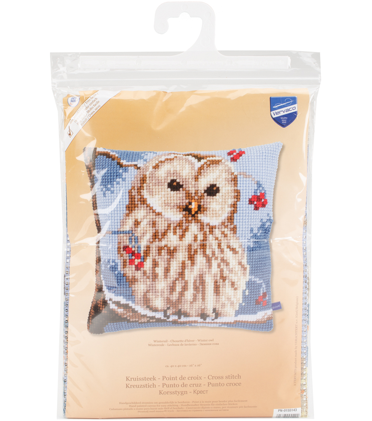 Vervaco 16\u0027\u0027x16\u0027\u0027 Cushion Counted Cross Stitch Kit-Winter Owl