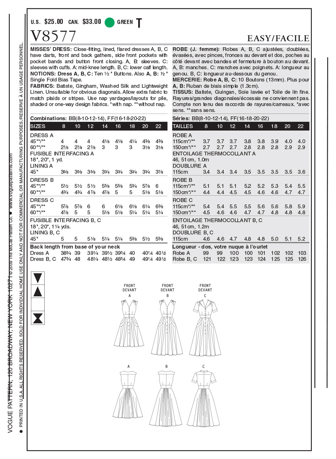 Vogue Patterns Misses Dress-V8577