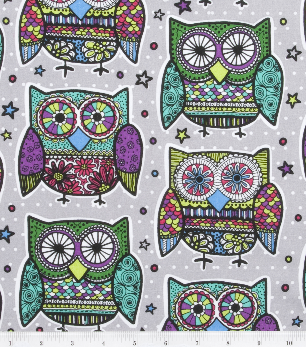 Novelty Cotton Fabric -Multi Colored Owls