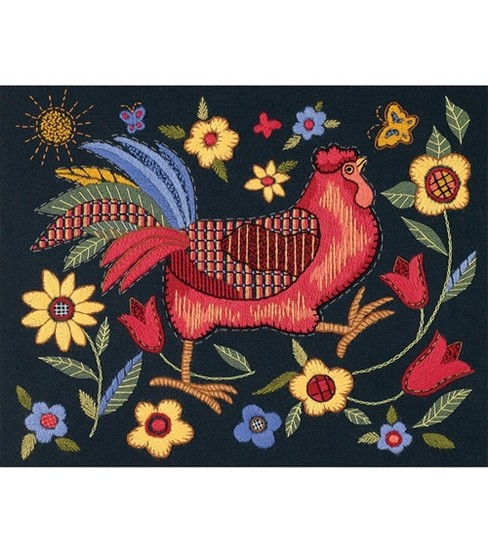 Dimensions Rooster On Black Crewel Embroidery Kit Joann