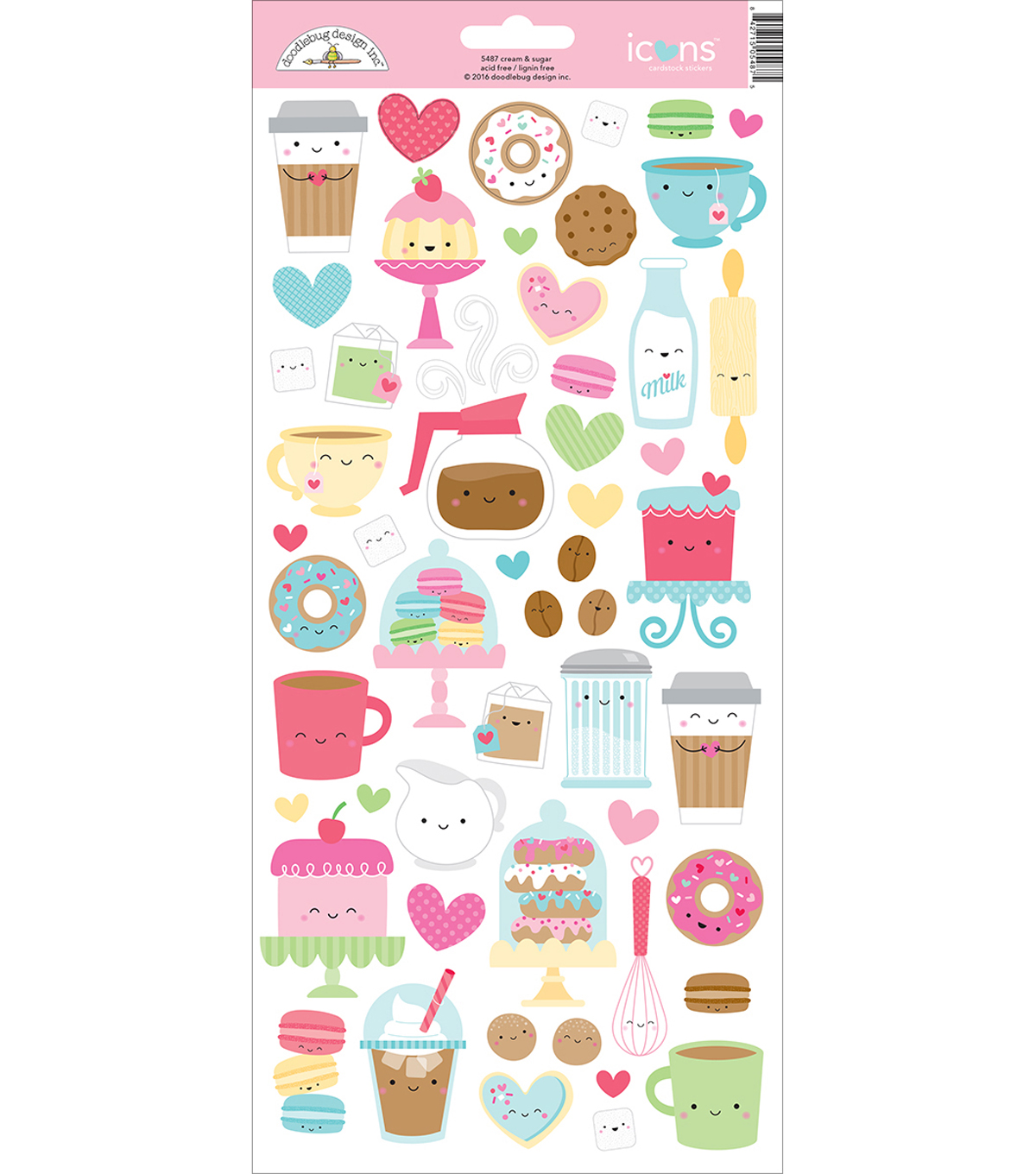 Doodlebug Icons Cardstock Stickers 6\u0022X13\u0022-Cream & Sugar