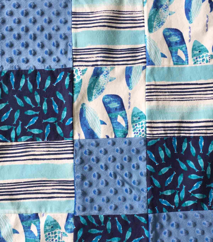 Nursery Patchwork Quilt Fabric Gordan Whale