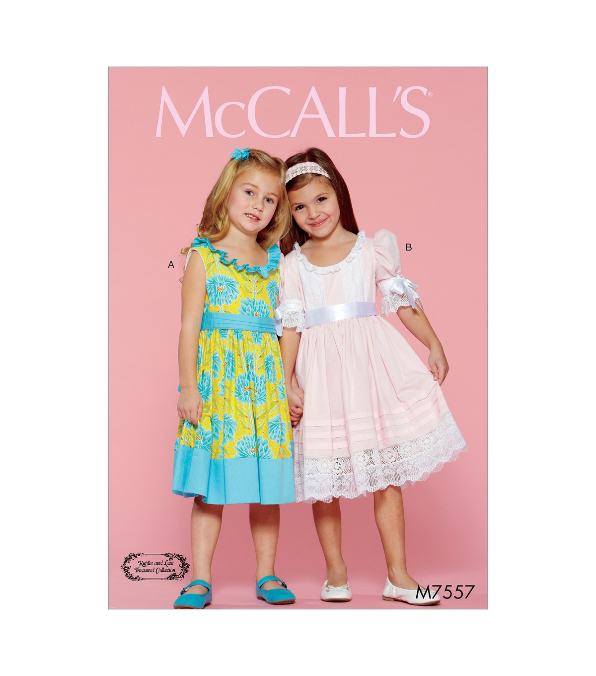 McCall\u0027s Pattern M7557 Girls\u0027 Ruffle-Neck Dresses with Bands & Ties, 6-7-8