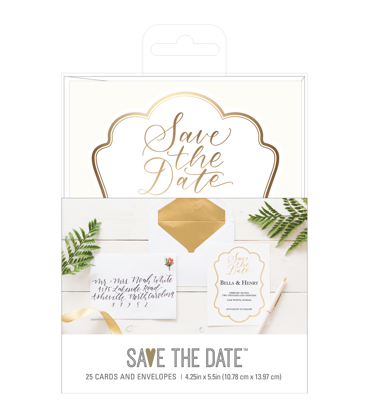 Save the Date 4.25\u0027\u0027x5.5\u0027\u0027 Cards & Envelopes-Gold Save the Date