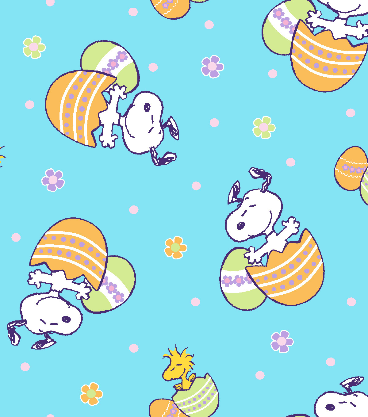 Peanuts Easter Cotton Fabric Tossed Snoopy With Eggs Joann