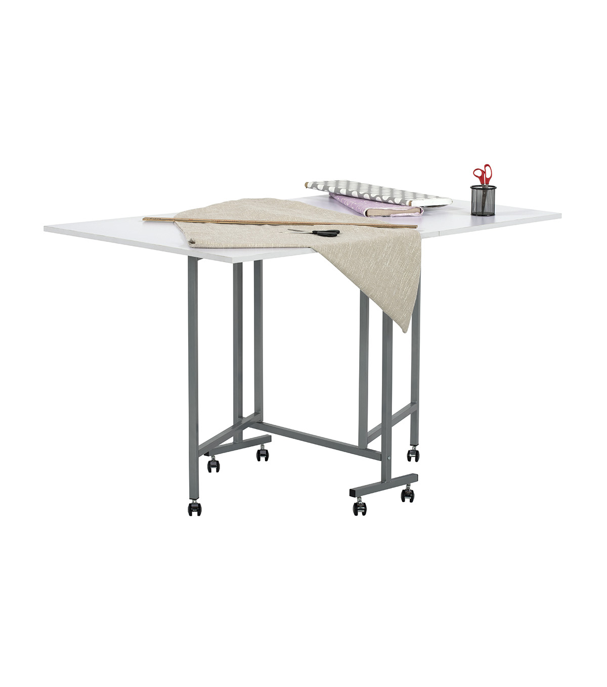Studio Designs Sew Ready Craft & Cutting Table-Silver/White