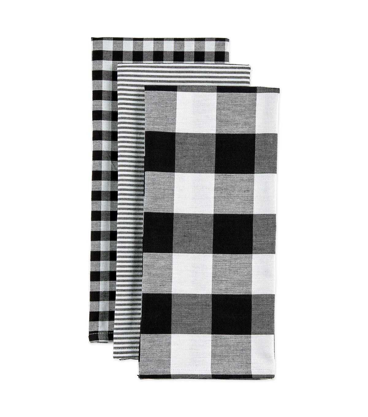 Design Imports Mixed Check Kitchen Towel Set-Black & White