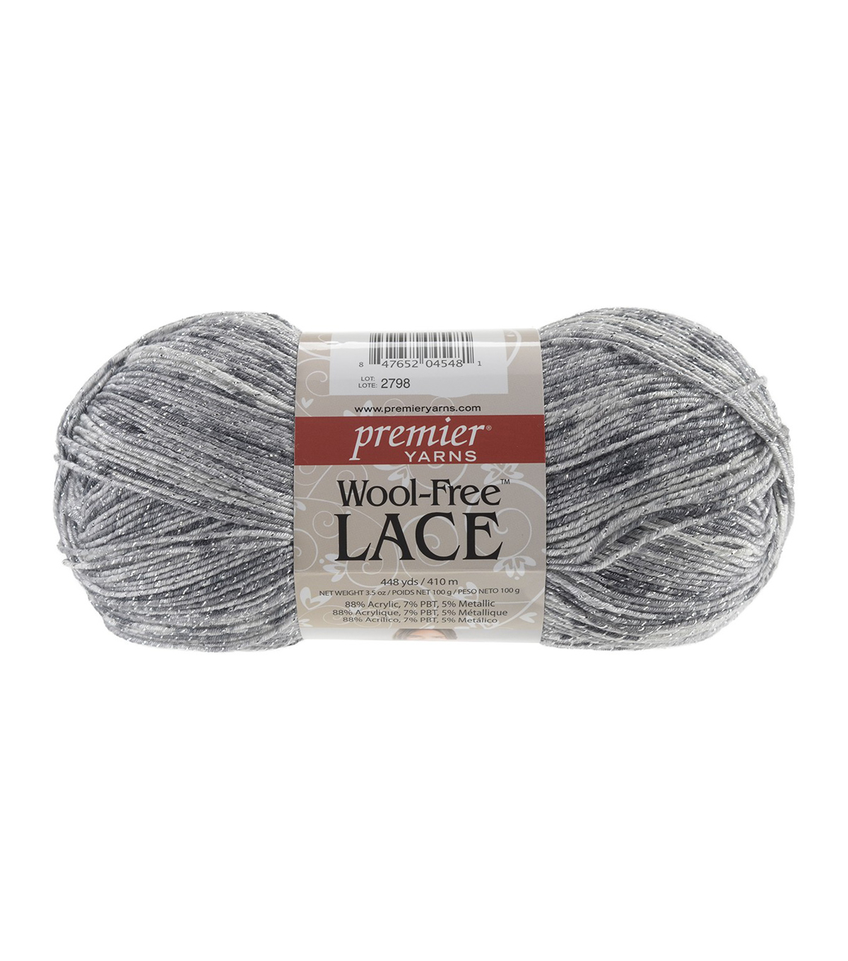 Wool Free Lace Yarn, Tarnished Silver