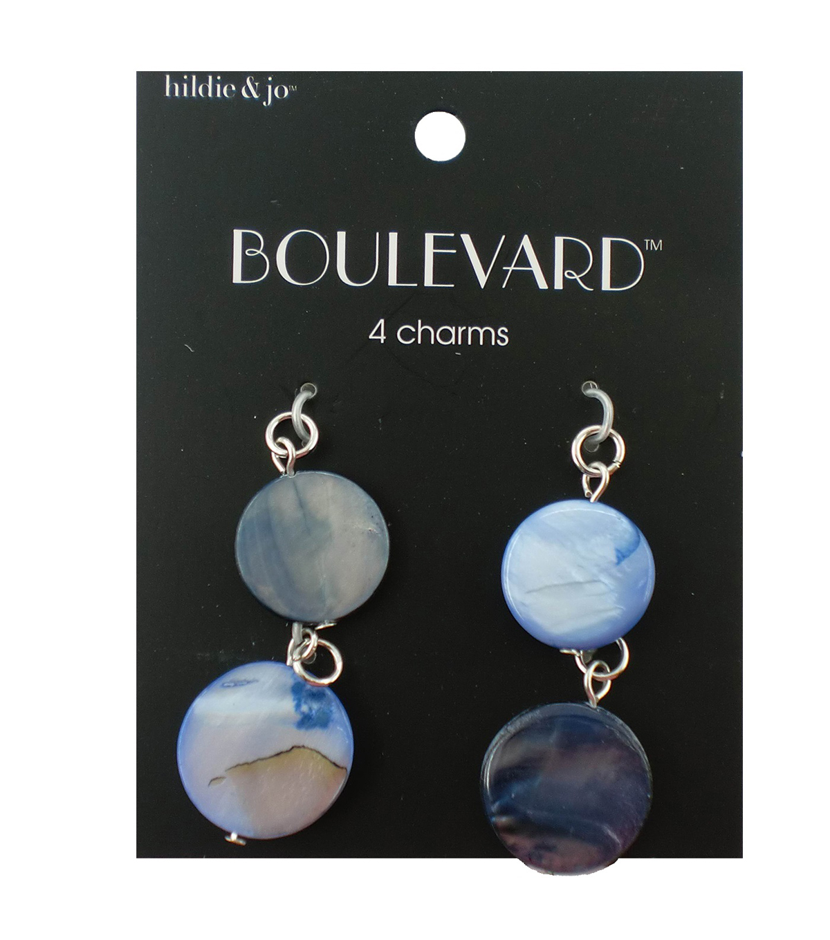 hildie & jo Boulevard 4 Pack Silver Charms-Blue Circle Shell