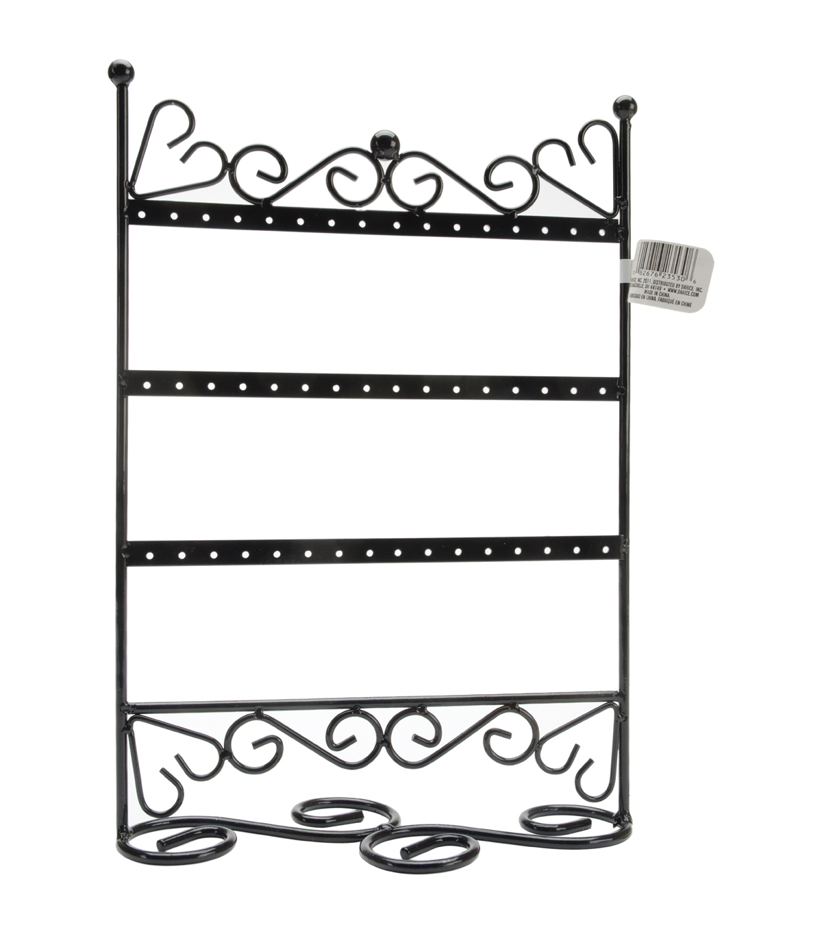 Darice Metal Earring Stand W/Scroll 3 Tier 9X12X4-Black