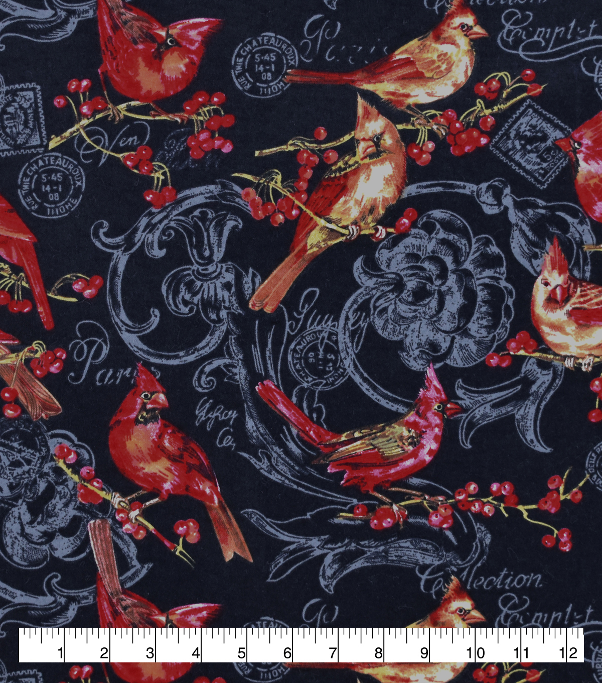 Christmas Snuggle Flannel Fabric-Cardinals on Blue