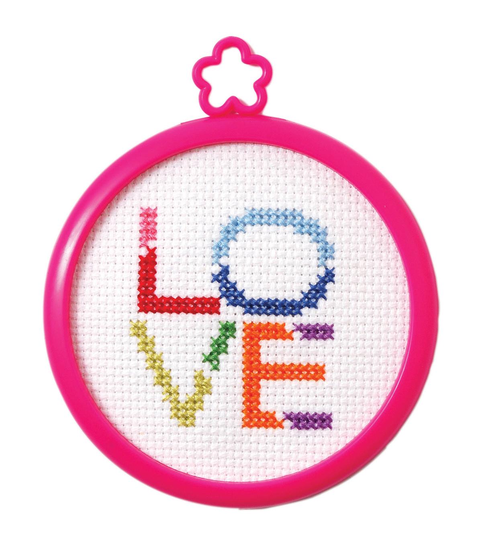 My 1st Stitch Love Mini Counted Cross Stitch Kit 3 Round 14 Count