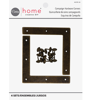 Dritz Home Campaign Hardware Corners-Brass