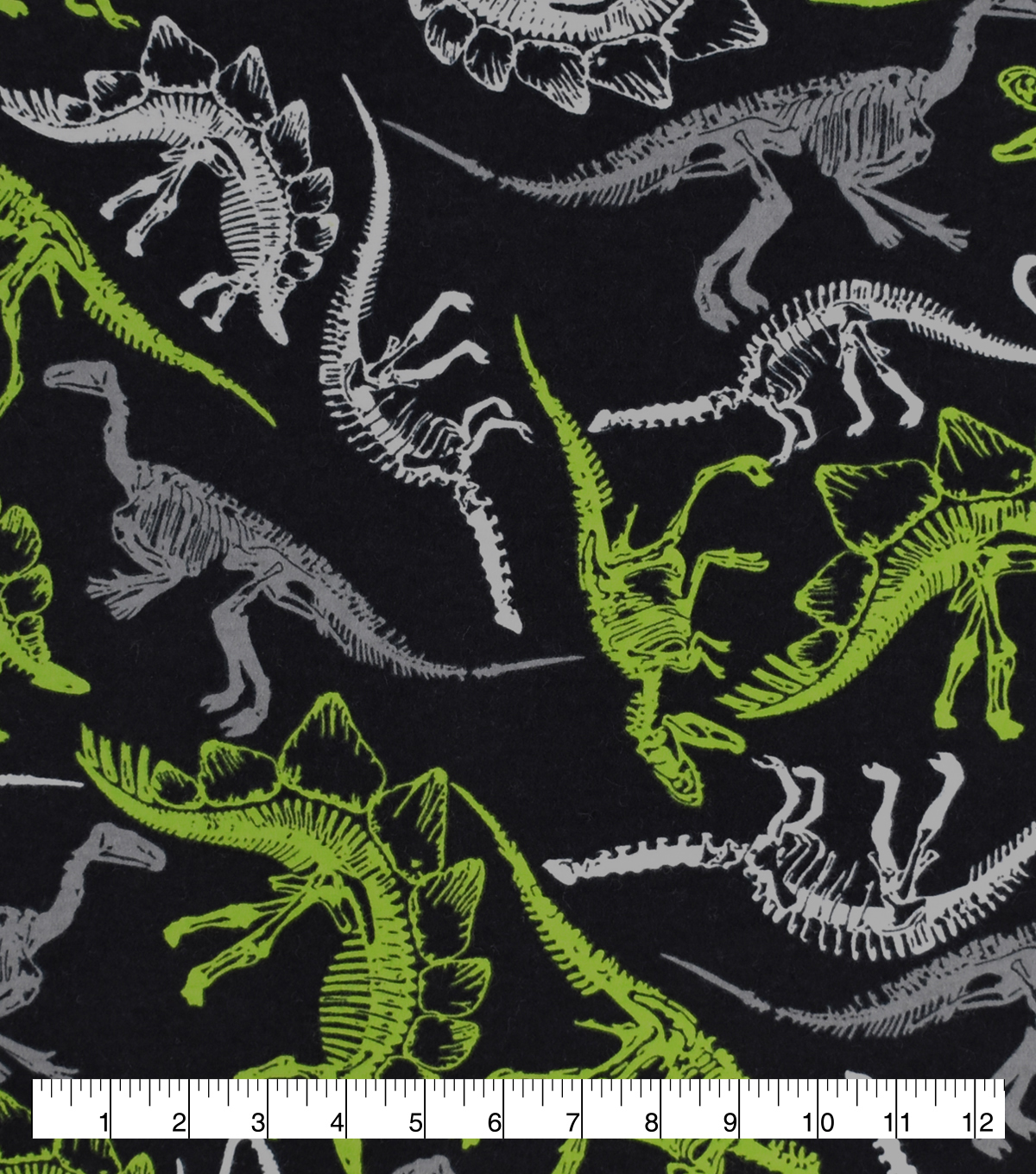 Snuggle Flannel Fabric-Dino Skeletons on Black & Green