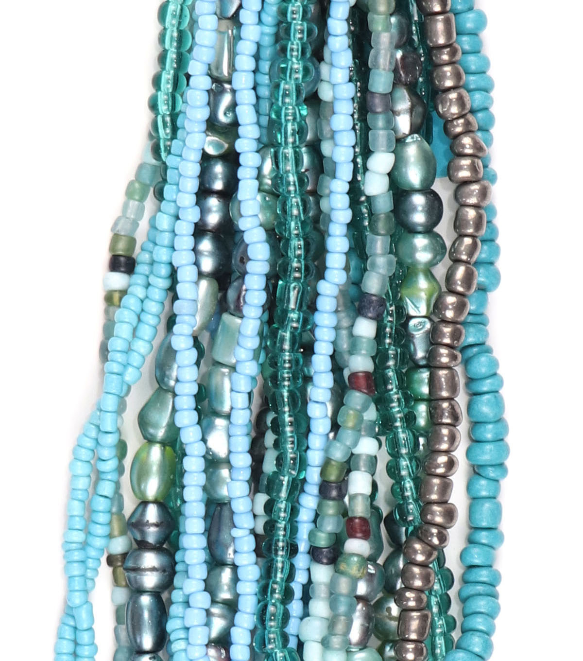 hildie & jo Glass Multi Strand Seed Strung Beads-Blue