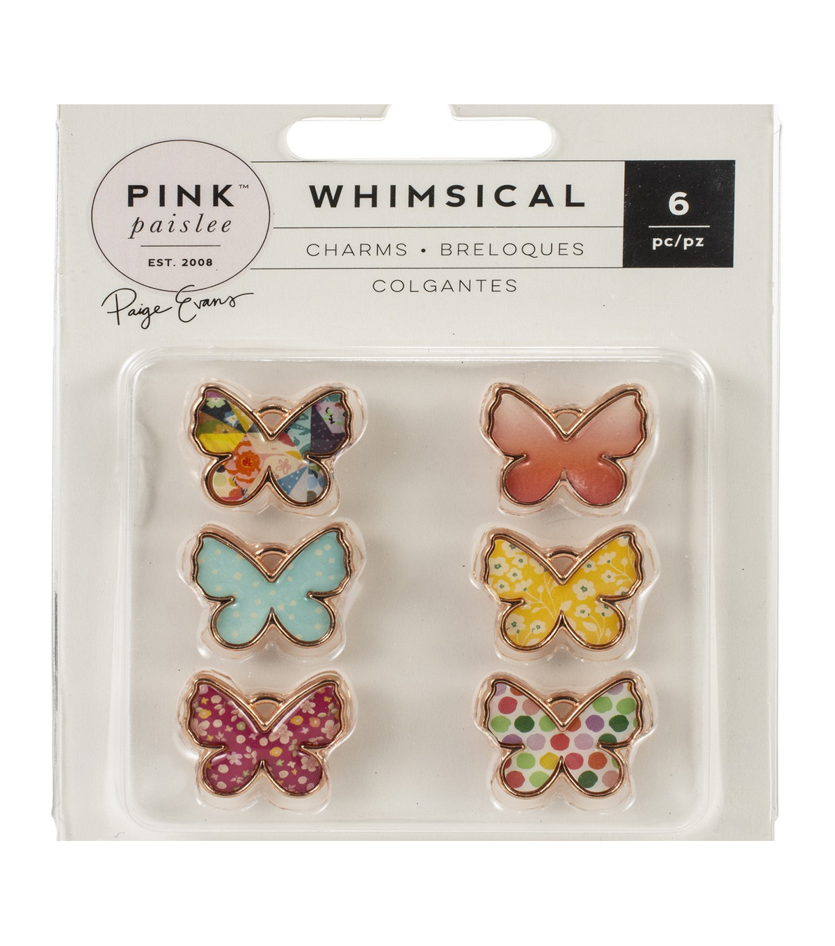 Pink Paislee Paige Evans Whimsical 6 pk Butterfly Charms