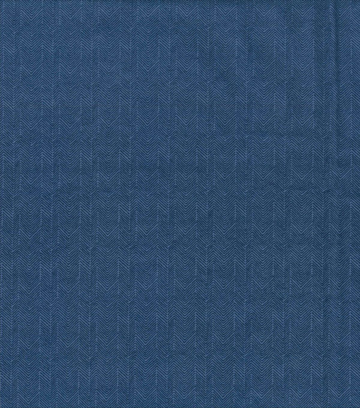 Quilter\u0027s Flannel Fabric -Herringbone Navy