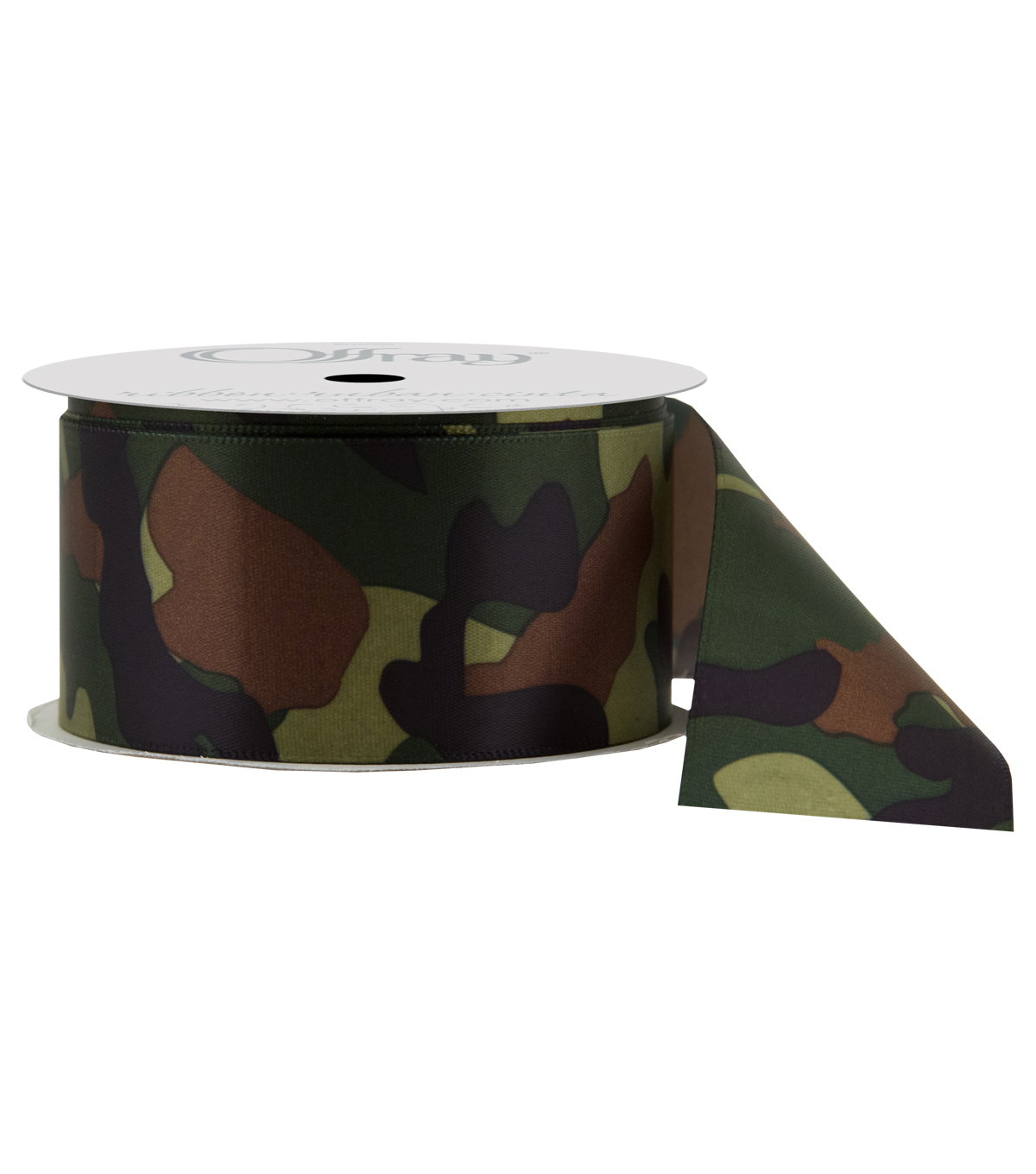 Offray Satin Ribbon 1 5''x9'-Moss Camouflage