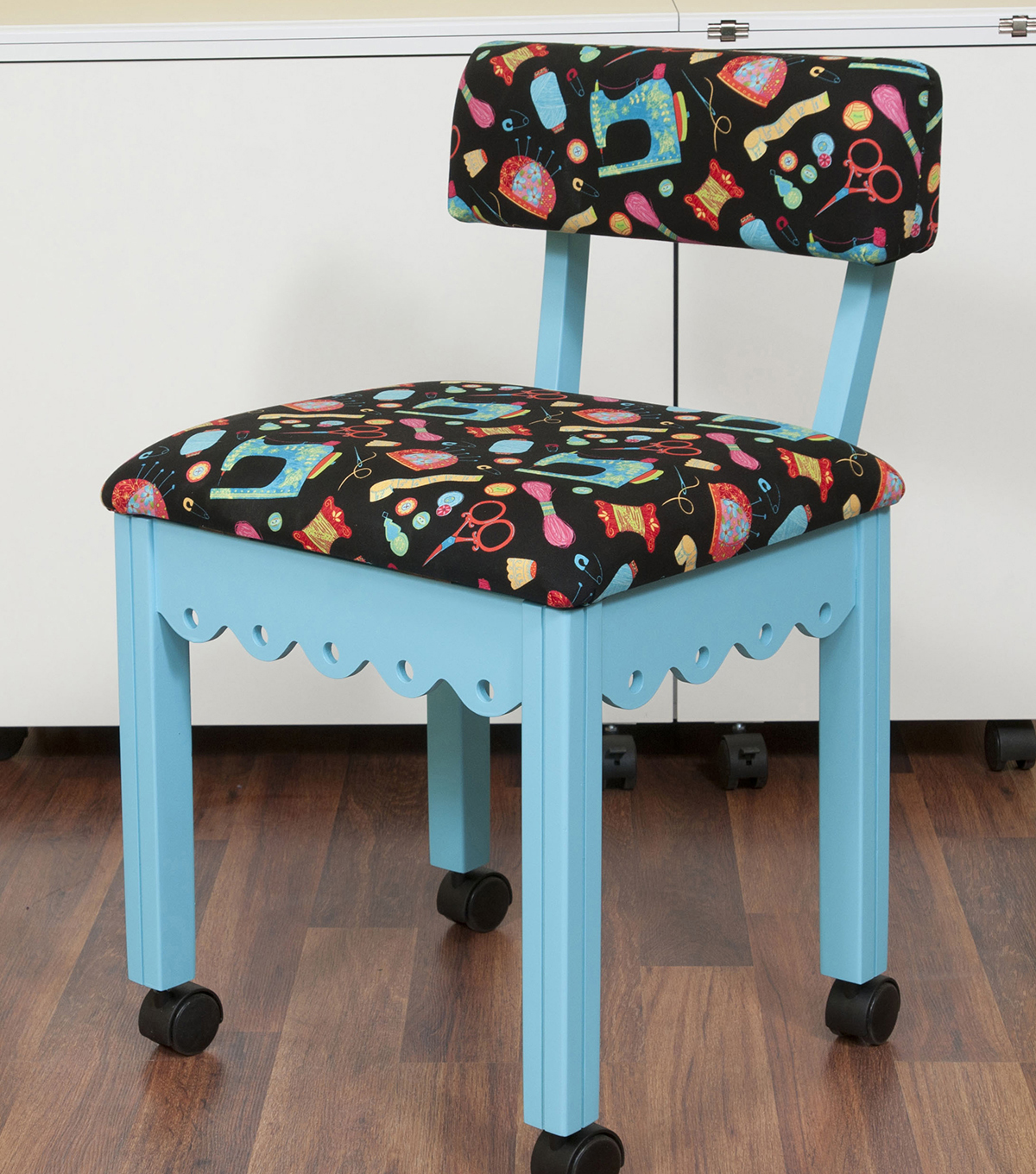 Arrow Blue Sewing Chair with Scalloped Base-Sewing Notions on Black