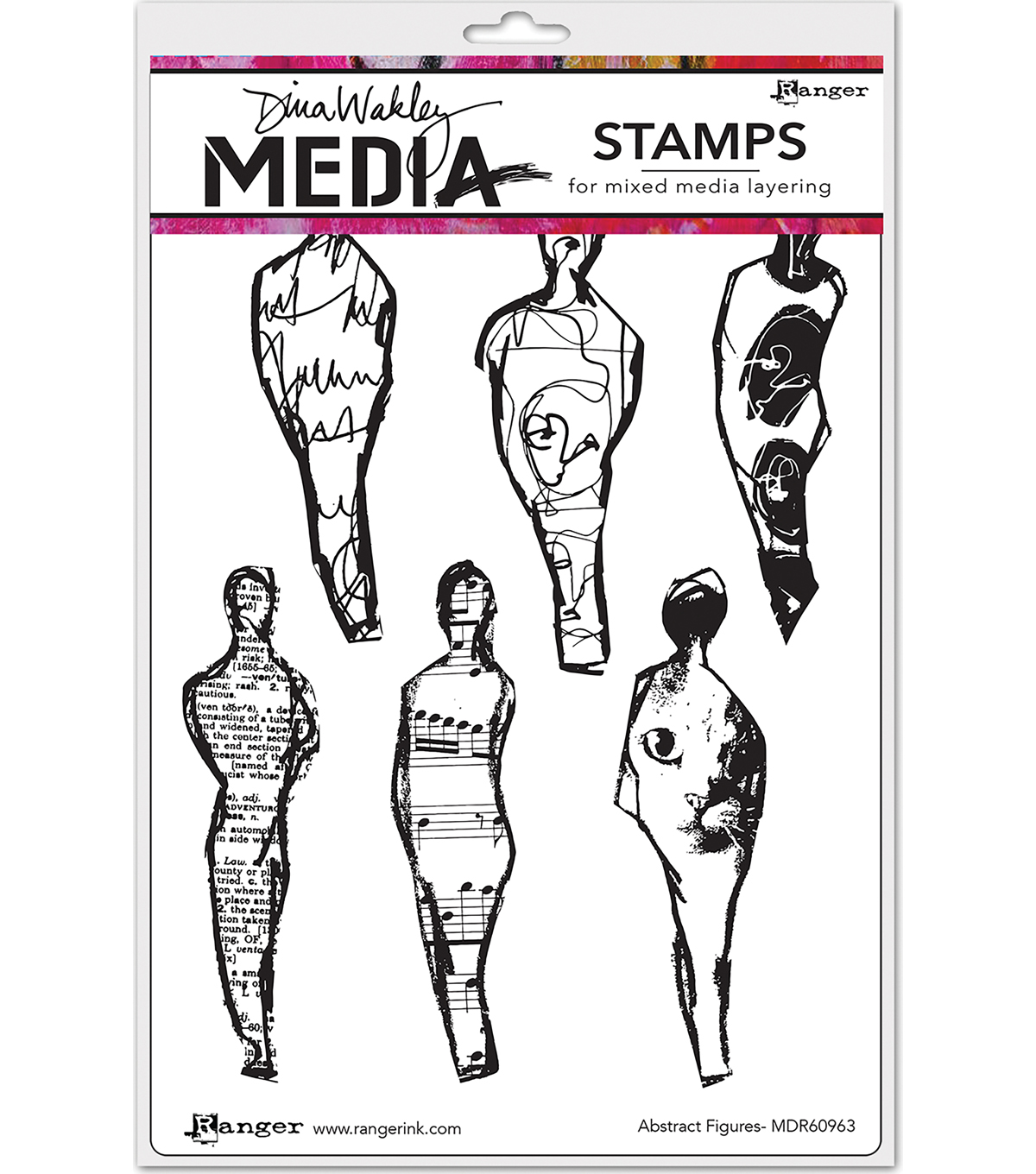 Ranger Dina Wakley Media Cling Stamps-Abstract Figures