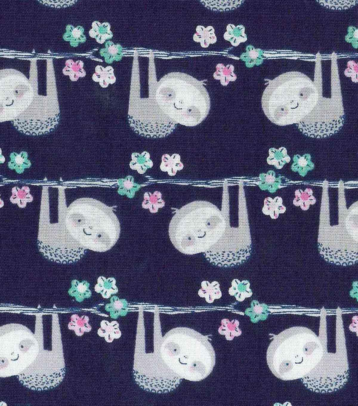 Novelty Cotton Fabric-Hanging Sloths