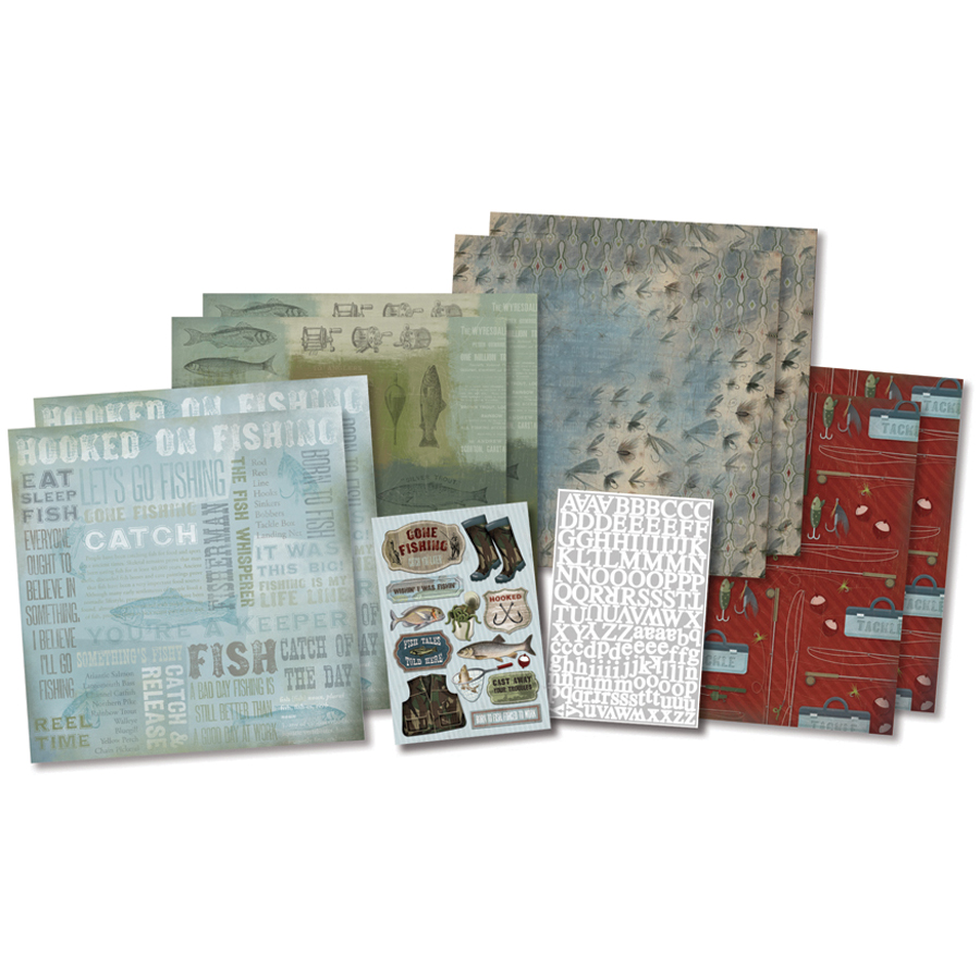 Born/fish -scrapbook Kit 12x12