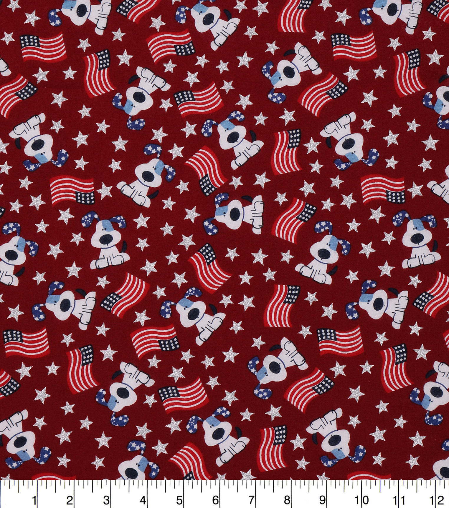 Patriotic Cotton Fabric 43\u0027\u0027-Glitter Star, American Flag & Puppy