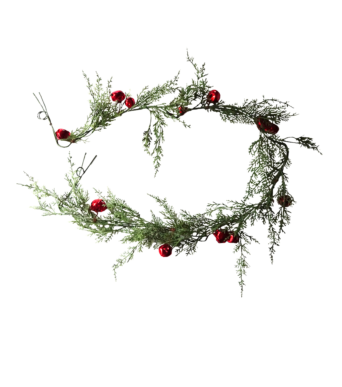Blooming Holiday Christmas 4\u0027\u0027x66\u0027\u0027 Snow Cypress & Red Bell Garland