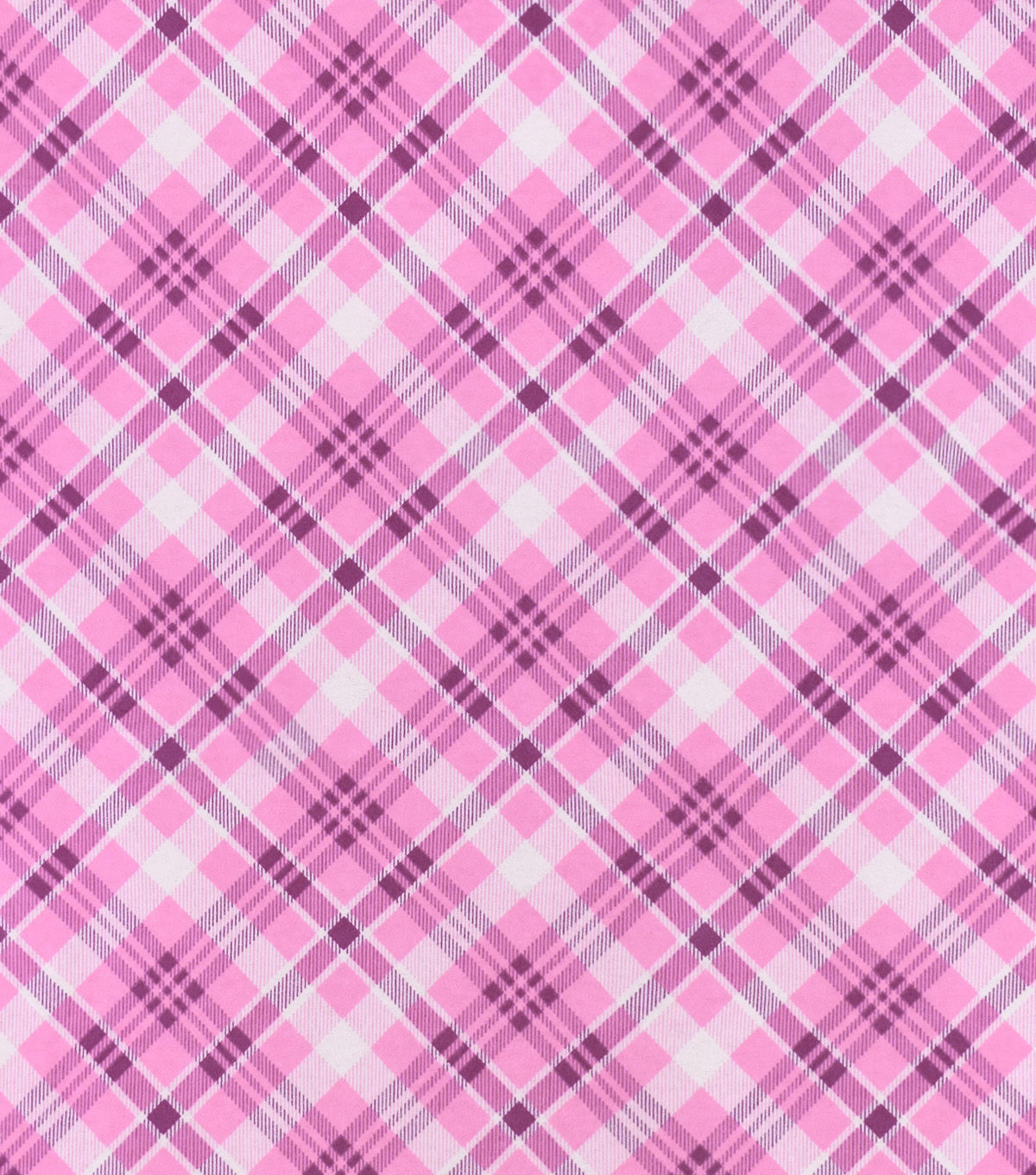 Snuggle Flannel Fabric-Pink Bias Plaid