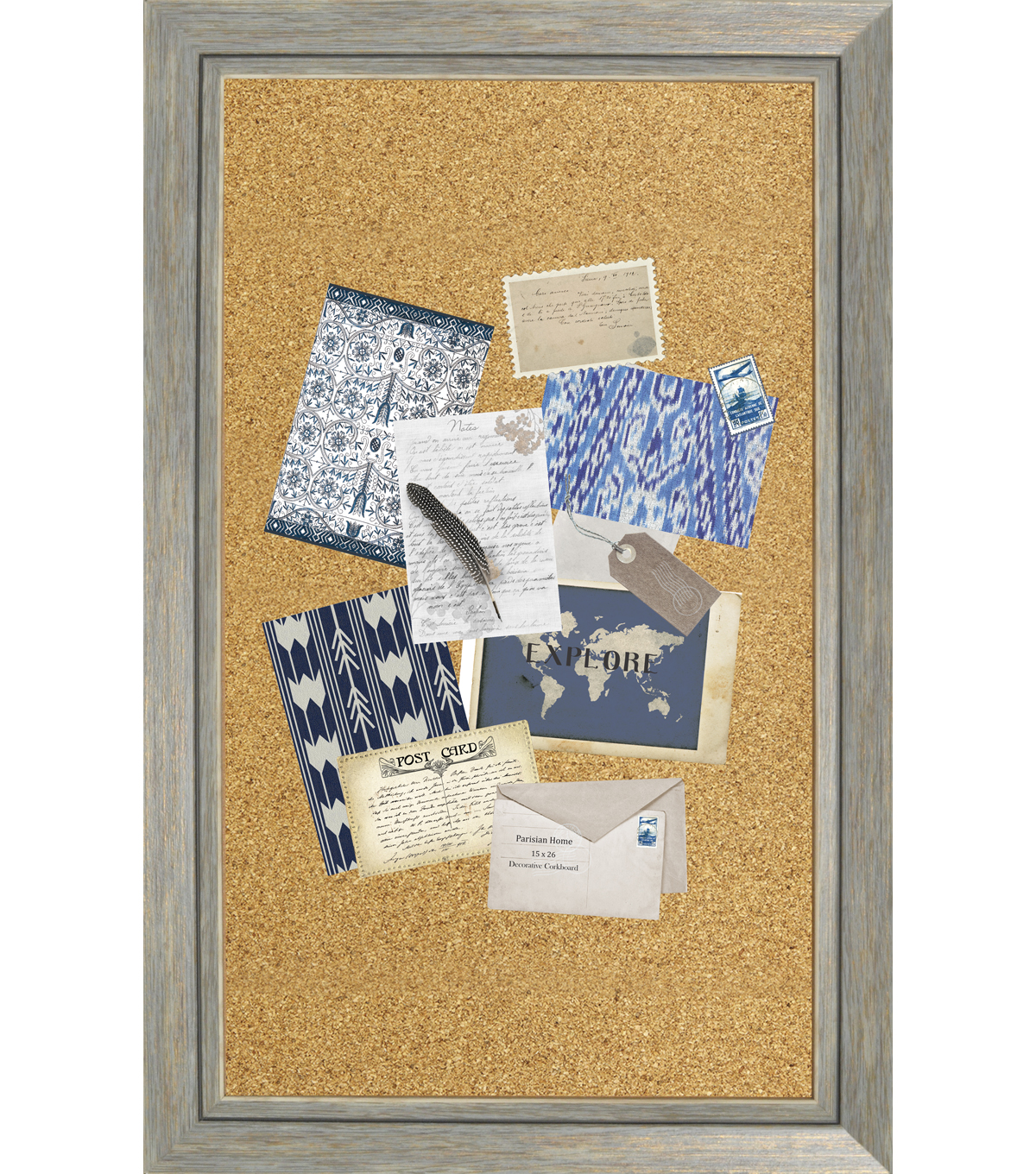 29.5\u0022 x 18.5\u0022 Distressed Wood Cork Board-Blue