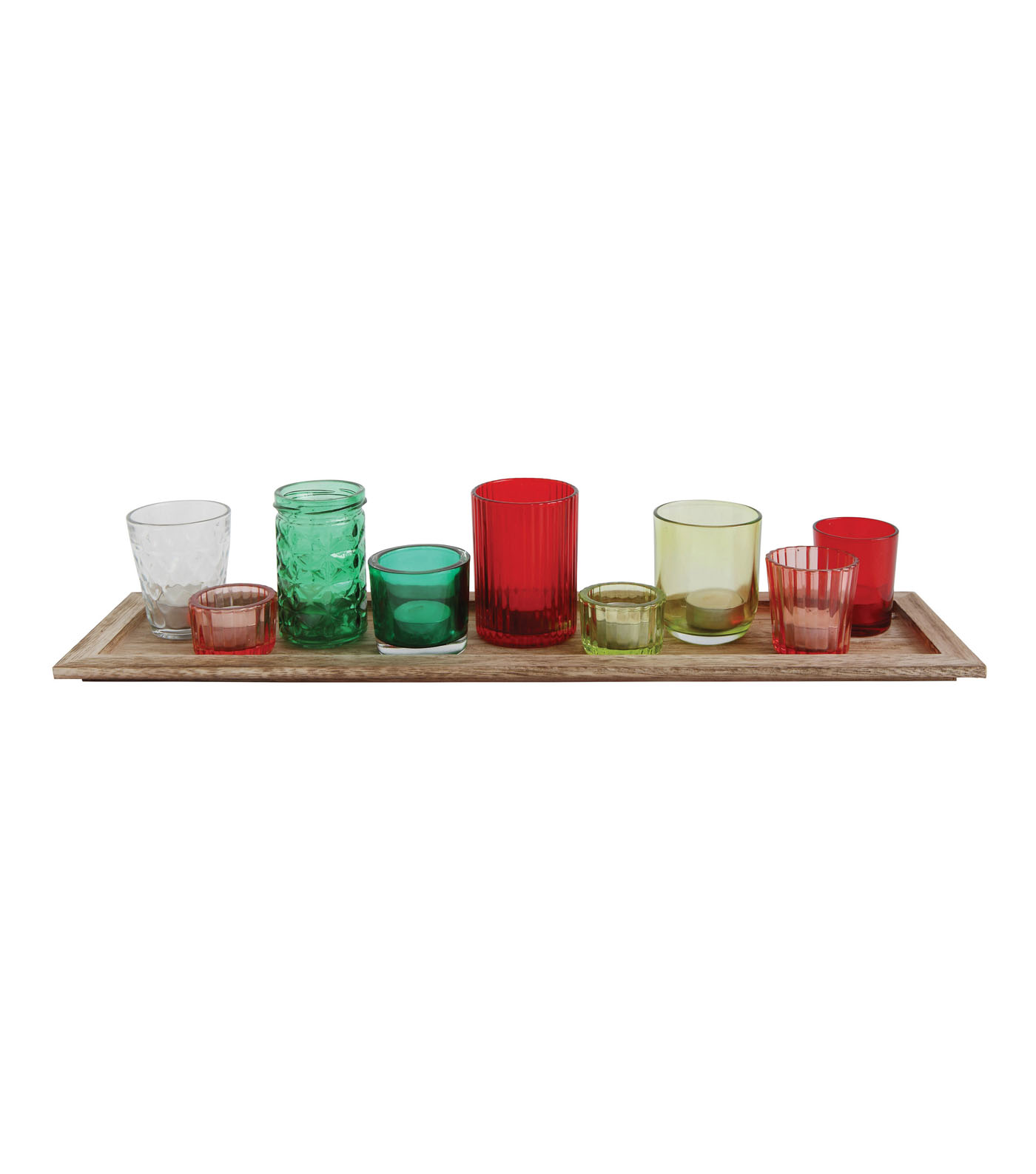 3R Studios Christmas Wood Tray with Glass Votive Holders