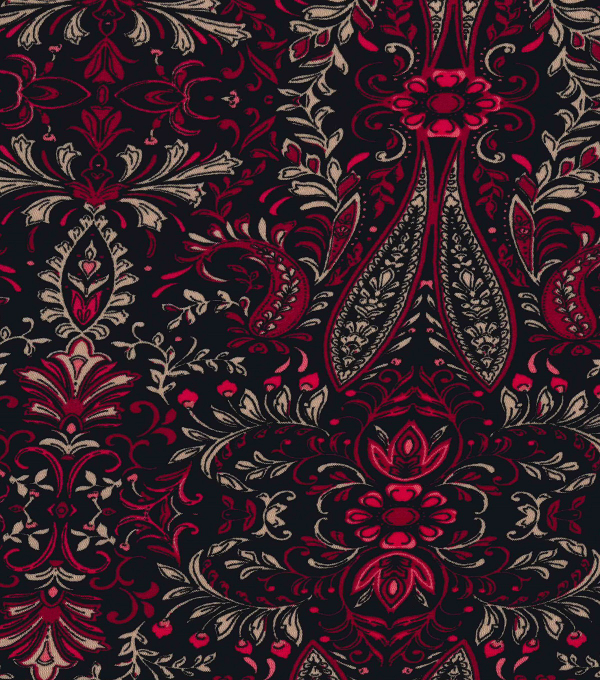Knit Apparel Fabric -Plum Leaves Paisley