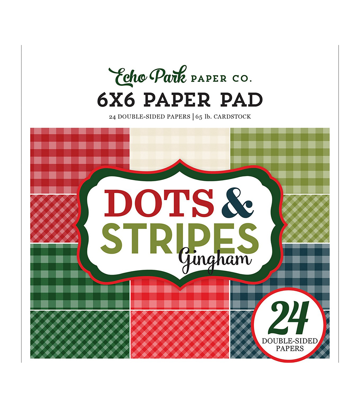 Echo Park Paper Company Dots & Stripes Gingham Paper Pad-Christmas