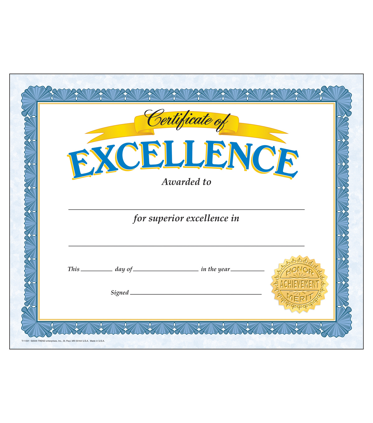 Certificate of Excellence Classic Certificates, 30/Pack