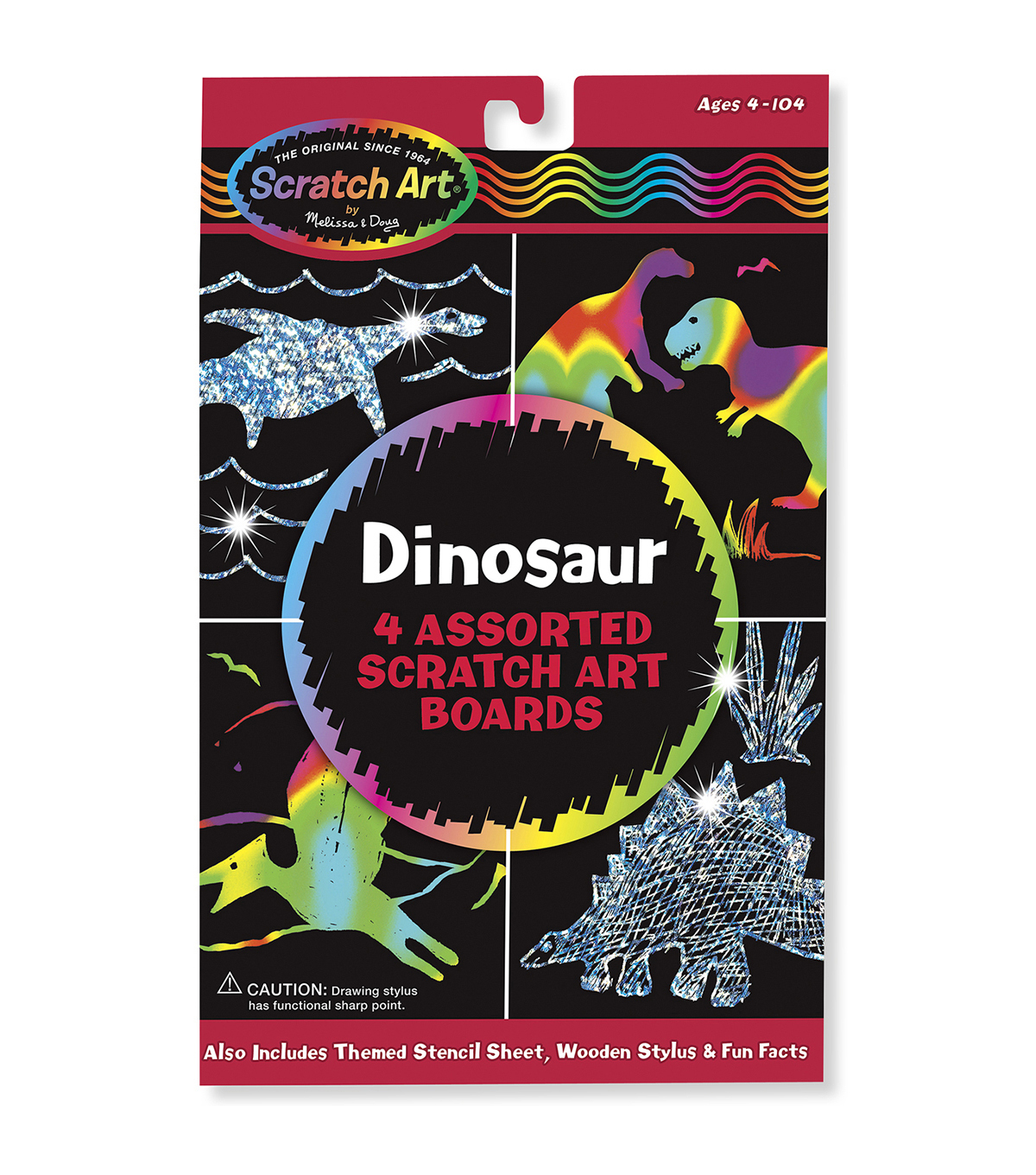 Melissa & Doug Scratch Art Board Set 6\u0022X10\u0022 4/Pkg-Dinosaur