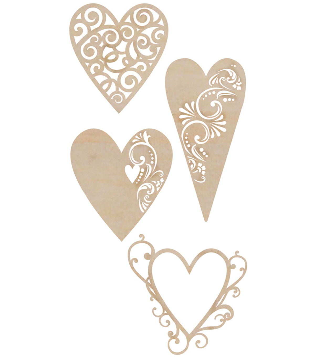 Kaisercraft Wood Flourishes 4Pk-Fancy Hearts