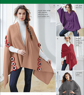Simplicity Patterns Us1098Os-Simplicity Misses\u0027 Fleece Ponchos And Wraps-One Size