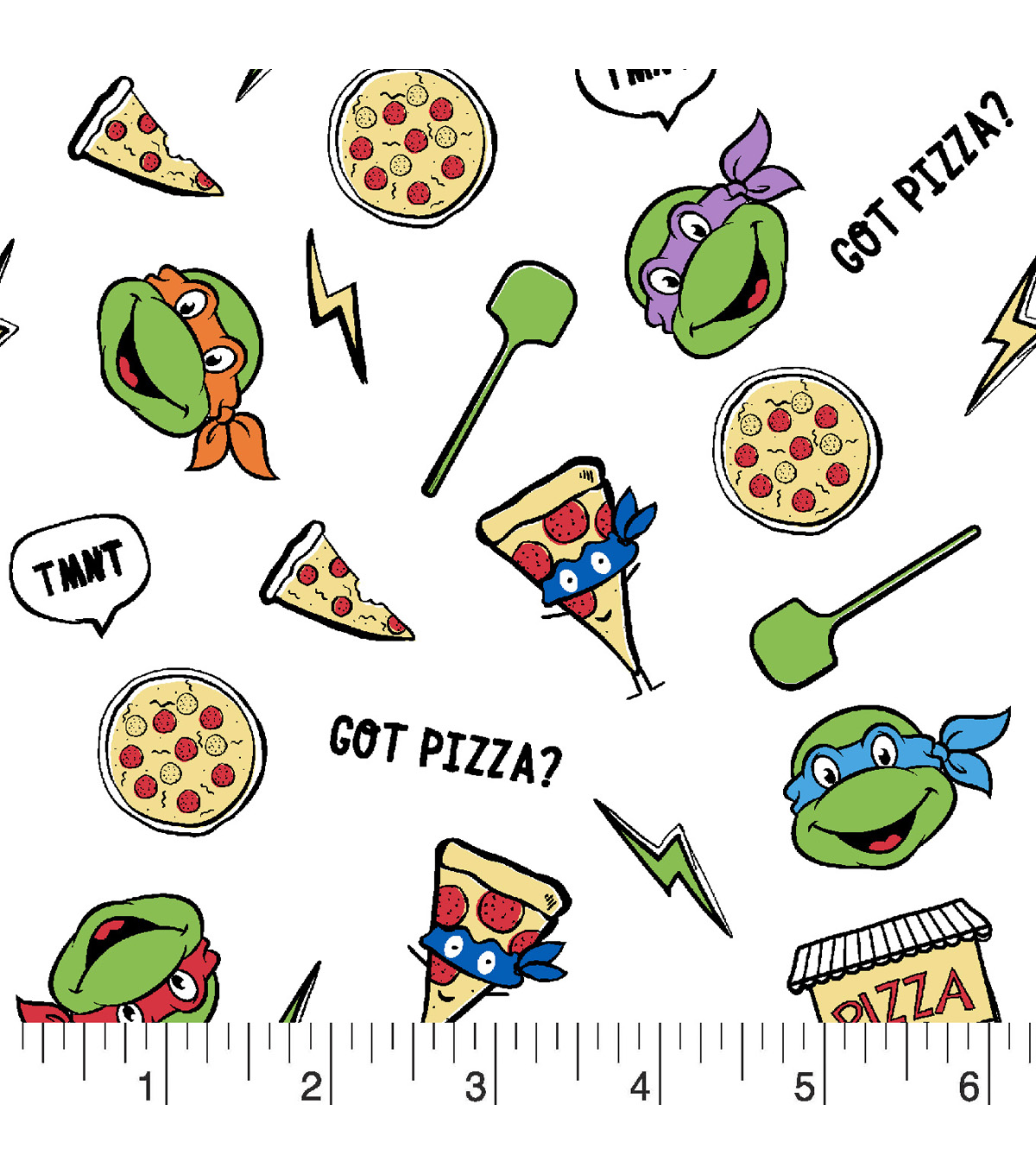 Teenage Mutant Ninja Turtles Flannel Fabric 42\u0022-Pizzas And Turtles