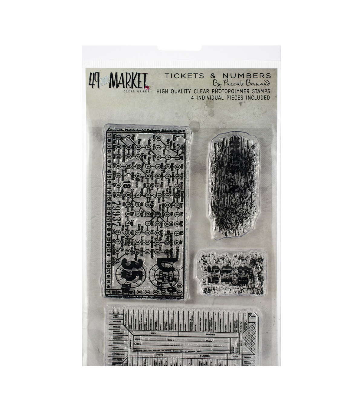 49 And Market 4 pk Clear Stamps-Pascale\u0027s Tickets & Numbers