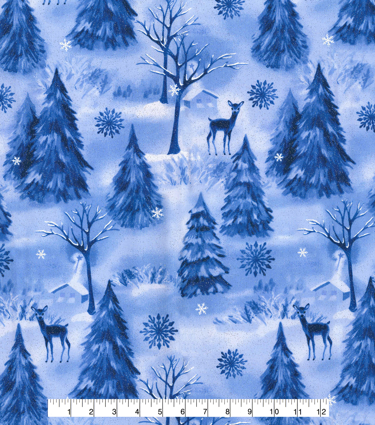 Christmas Glitter Print Fabric -Winter Frost