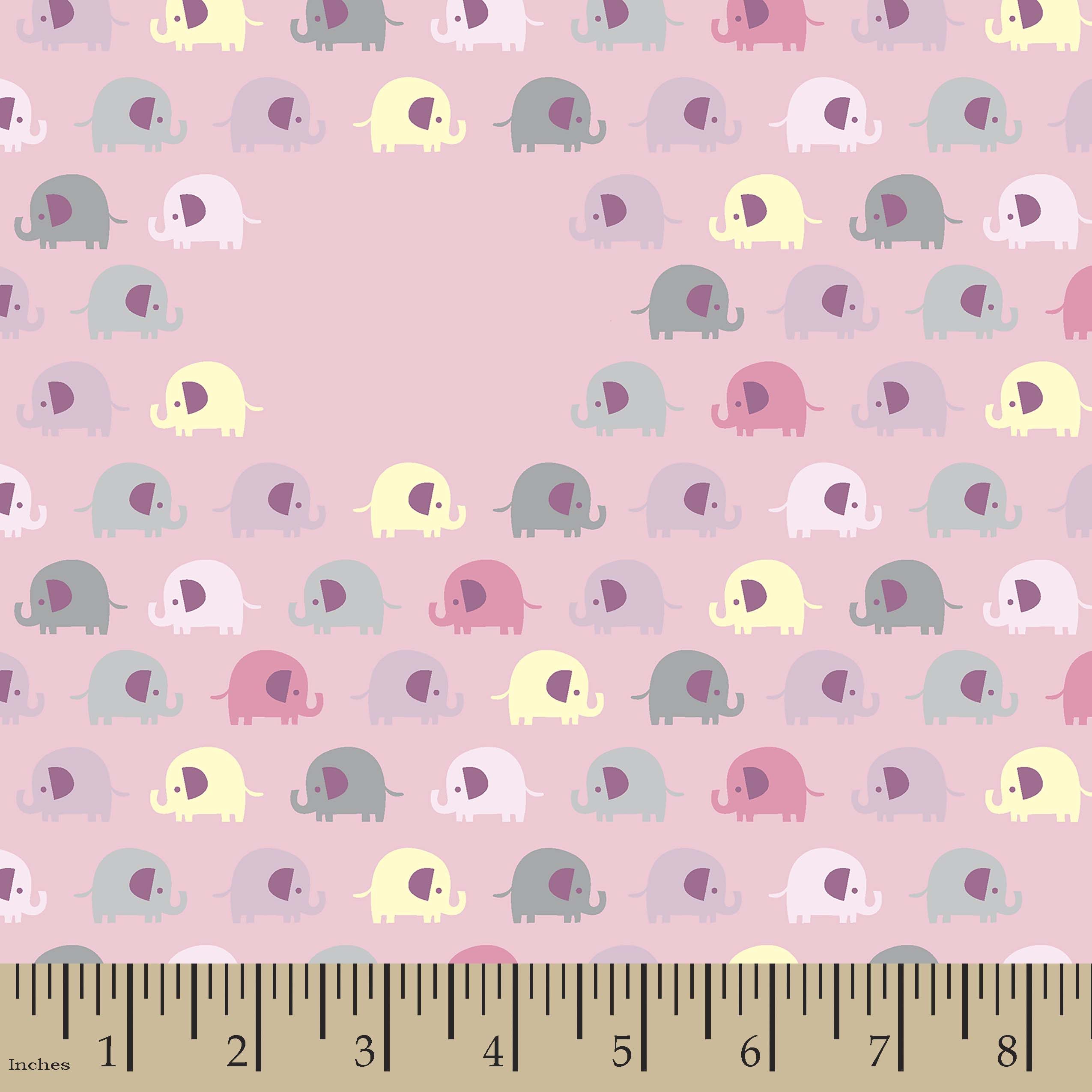 Tiny Elephants Print Fabric