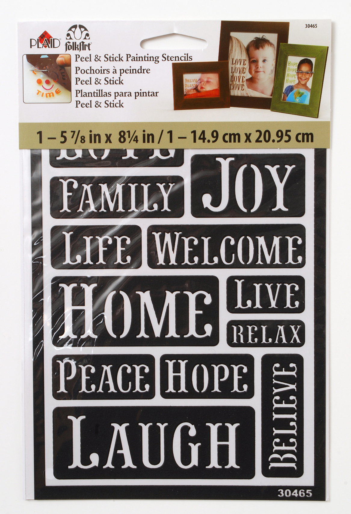 FolkArt 5.63\u0027\u0027x8.25\u0027\u0027 Peel & Stick Painting Stencils-Happy Words