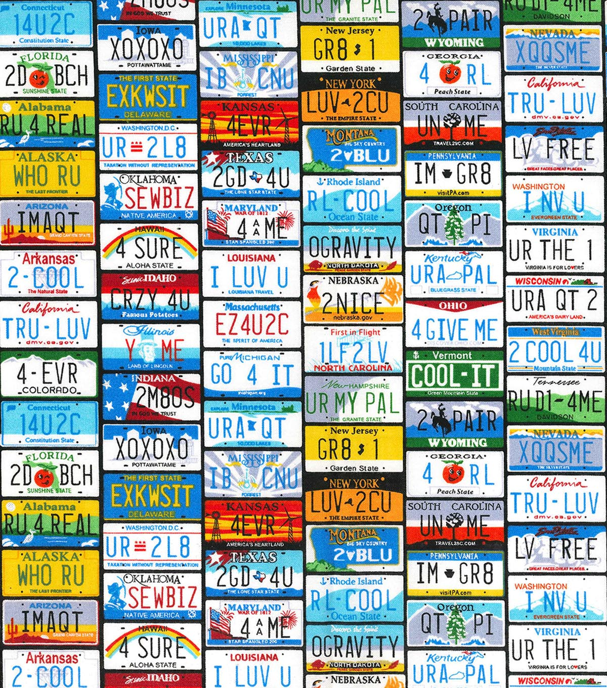 Novelty Cotton Fabric -State License Plates