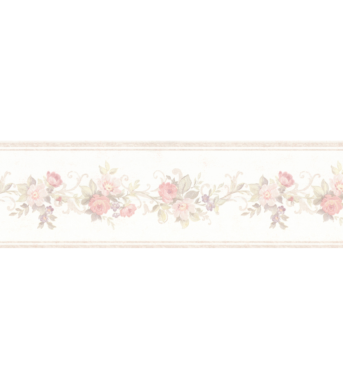 Petit Floral Trail Wallpaper Border, Pearl Sample